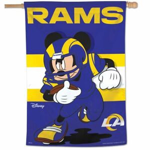 """LOS ANGELES RAMS MICKEY MOUSE DISNEY 28""""X40"""" BANNER VERTICAL FLAG WINCRAFT"""