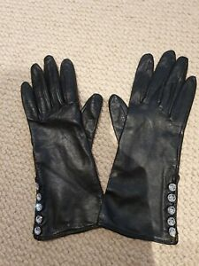 JAEGER Ladies Black Leather Diamante Buttoned Gloves. Size L. Long Wrist