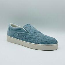 $680 Bottega Veneta Men's Dust Blue Suede Woven Slip-on Loafer 190809 4713