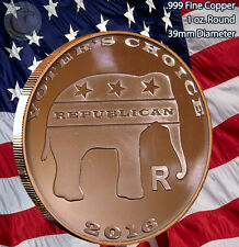 """Voters Choice"" with Elephant & Donkey 1 oz .999 Copper Round Limited and Rare"