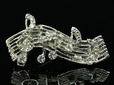2 pc Stunning clear crystal silver Brooch music note symbol notation G clef D15