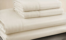 Queen Size Beige 500 Thread Count 100% Cotton Sateen Dobby Stripe Sheet Set
