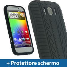 Nero Custodia Pneumatico per HTC Sensation XL Silicone Skin Case Protezione