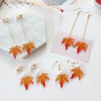 Women Long Fall Autumn Tree Maple Leaf Hook Clip Up Drop Dangle Earrings Jewelry
