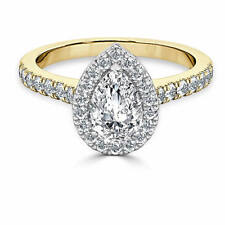 1.60 Ct Pear Cut Diamond Bridal Engagement Ring 14K Solid Yellow Gold Size O P
