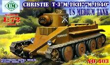 UMmt 1/72 403 WWII US Christie T-3 Medium Tank M.1931/M.1940 (2 Variant Select)
