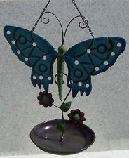 "Bird Feeder Butterfly NEW hanging metal and melamine resin 7 3/4"" diameter"