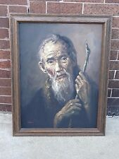 Oil Painting Old Man of Wisdom With Staff Artist Signed Rock