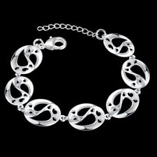 Fashion 925Sterling Solid Silver Jewelry Hollow Heart Bracelet For Women H432