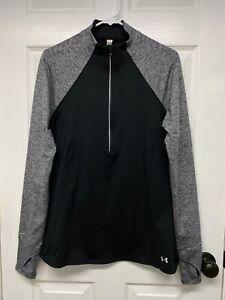 Under Armour Storm Womens L/S Threadborne Run True 1/2-Zip Pullover L Black/Gray