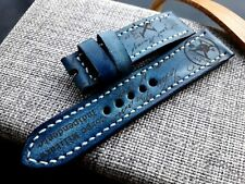 24mm Handmade leather watch strap army, Xª Flottiglia MAS tribut, blue