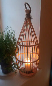 Hanging or freestanding woven bamboo candle holder/lantern