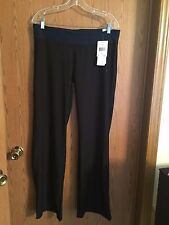 1732)  NWT ADIDAS sz L Long Ultimate Slim Pant black sport poly pants flare $60