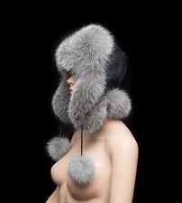 Superior Saga Furs Blue Frost Fox Fur Handmade Trending Aviator Trapper Hat