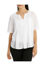 NEW Regatta Petites Tuck Front Frill Elbow Sleeve Top White