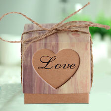 50X Heart Love Rustic Sweet Laser Cut Candy Gift Boxes Wedding Party Favour