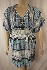 NEW City Chic Blue Multi Necklace Trim Kaftan Tunic Plus Size XS 14 BNWOT CC977