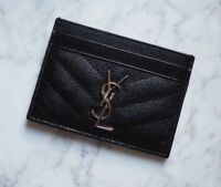 Auth Yves Saint Laurent YSL Monogram Chevron Leather Cardholder Black Silver
