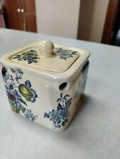 Charlotte Burleigh Ironstone Square Cube Teapot Blue Floral England Vintage