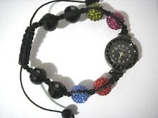 Ashley Princess Bling Bling Shamballa Bracelet Women's Watch Black