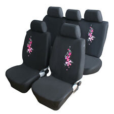 2018 NEW 9PCS Universal Pink Embroidery Flower Car Full Seat Cover Protector