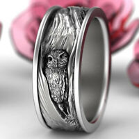 925 Silver Owl Tree Bark Wedding Band Ring Nature Inspired Engagement Jewelry