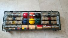 """VINTAGE 35 PIECE, OUTDOOR, """"SPORTCRAFT"""" CROQUET SET in CASE WITH DIRECTIONS"""