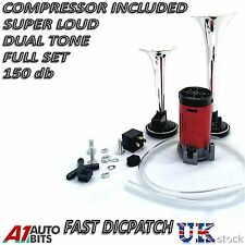 SUPER LOUD 12V TWIN TONE 2 AIR HORN KIT HORNS MUSICAL FOR CAR BOAT VAN SUV
