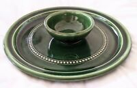Bendigo Pottery Platter, Marked RW, Green glazed plate, Australian pottery