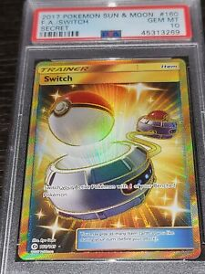 Pokemon Sun & Moon Switch Full Art 160/149 Secret Rare PSA 10