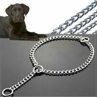 Pet Dog Choke Chain Choker Collar Strong Silver Stainless Steel Training S3B7