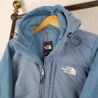 THE NORTH FACE Size Medium Womens Denali Hooded Polartec Fleece Jacket Coat Blue