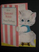 1950s vintage greeting card Norcross Snowball BIRTHDAY To Niece White Kitten