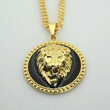 "18k Gold Lion Head Iced Out Pendant Medallion Black 30"" Cuban Link Necklace"