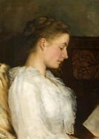 Oil painting female portraits - Portrait of a young Edwardian lady Hand painted