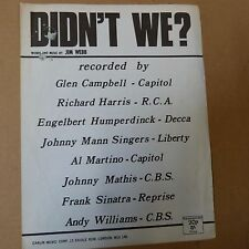 song sheet DIDN't WE ? Johnny Mann Singers, Al Martino, Johnny Mathis 1966