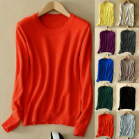Women Wool Cashmere Sweater Warm Knitted Pullover Slim Crew Neck Sweater Solid