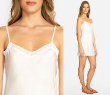 NWT $68 Johnny Was ANTIQUE WHITE Silk Habutai Slip L Lace Accents, Med-Length