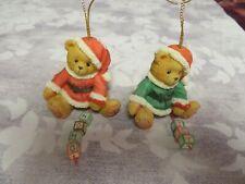 "Cherished Teddies #176168 Set Of 2- ""Joy"" & ""Ho Ho Ho"" Blocks Ornaments -Nib"