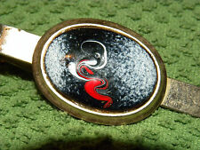 Vintage Tie Clip Red/Black/White/Enamel Gold Tone Abstract