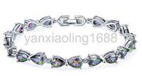 Handmade Rainbow natural Mystical Fire Topaz Silver Charming Bracelet