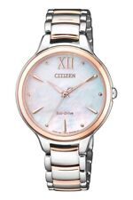Citizen Eco-Drive Women's Mother of Pearl Dial Two Tone 32mm Watch EM0556-87D