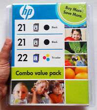GENUINE HP 21 22 BLACK TRI-COLOR COMBO VALUE PACK PRINTER INK CARTRIDGE *EXPIRED