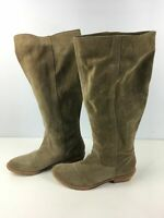 WOMENS BRONX UK 7 EU 41 LIGHT BROWN SUEDE PULL ON BLOCKH HEEL KNEE HIGH BOOTS