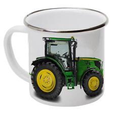 Personalised John Deere Tractor EM07 Dad Enamel Mug Cup Tin Metal Outdoor Gift