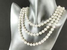 Halskette - runde Muschelkernperlen 8 mm weiß, Länge 142 cm /9511