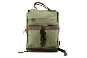 Waxed Canvas Backpack with Leather