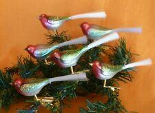 6 kleine Vögel aus Glas, Christbaumschmuck bunt, Lauscha Weihnachtsschmuck