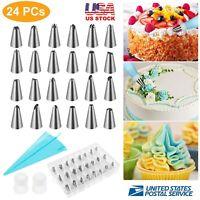 24pcs Cake Decorating Kit Supplies Tools Tips Icing Bag Nozzles Piping Set