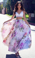 New BOHO Women Floral Dress Long Maxi Full Skirt Summer Beach Sun Dresses Beach